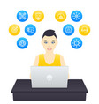 freelancer working young cheerful girl at work vector image