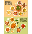 Italian cuisine icon set for dinner menu design vector image