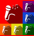 microphone sign with music notes set of vector image