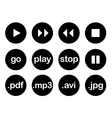 Play button or flat black web icon set isolated vector image