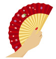 woman hand with open chinese red fan vector image