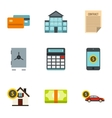 Bank and money icons set flat style vector image