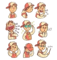 Boy In Cap And College Jacket Collection Of Hand vector image