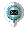 sticker with closed envelope mail in circular vector image