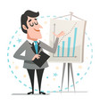 happy businessman giving a presentation vector image