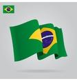 Flat and waving Brazilian Flag vector image