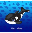 Cartoon whale on a sea background vector image