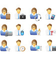 icons of office workers with office tools vector image
