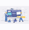 two cartoon builders holding and carrying repair vector image