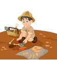 cute man archaeologists cartoon searching fossil vector image