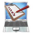 online survey laptop clipboard concept vector image