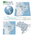 Federative Republic of Brazil maps with markers vector image