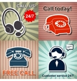 Set of retro phone banners vector image vector image