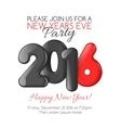 Invitation to New Year party with red balloons vector image