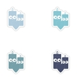 Set of paper stickers on white background candle vector image