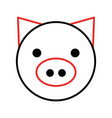 pig head farm icon vector image