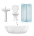 realistic bathroom icon set vector image