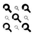 Set of hand-painted monochrome magnifying glass vector image