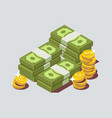 stacked pile of cash with coin vector image
