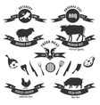 Vintage butchery shop labels vector image