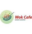 Wok cafe logo template Asian wok cuisine vector image