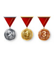 champion medals set  metal realistic first vector image