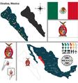 Map of Sinaloa vector image vector image