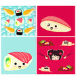pattern with sushi vector image