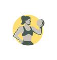 Female Lifting Dumbbell Circle Retro vector image
