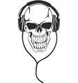 Skull in stereo ear-phones vector image