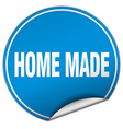 home made round blue sticker isolated on white vector image