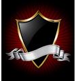 black shield and silver ribbon vector image