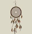 hand drawn native american dreamcatcher with vector image
