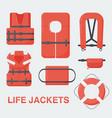 life jacket flat set vector image