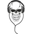 skull in stereo ear-phones vector image