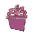 color gift box ribbon parcel shopping sketch vector image