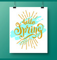 poster with a handwritten phrase-hello spring 5 vector image
