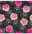 Seamless dark floral pattern with pink white roses vector image vector image