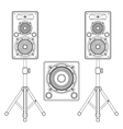 dark contour loudspeakers on stands and subwoofer vector image vector image