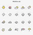Flat line color icons Weather vector image vector image