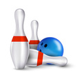 Ball and pins of bowling realistic skittles with vector image vector image