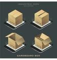 set of dark isometric cardboard box vector image