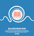 Book icon sign Blue and white abstract background vector image