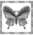 Coloring page of Balck Butterfly zentangle vector image