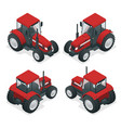 isometric tractor works in a field agriculture vector image