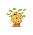 wheel of fortune with money flying falling down vector image