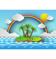 palm with island and rainbow vector image vector image