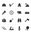 Black Camping travel and Tourism icons vector image