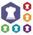 Chef hat rhombus icons vector image