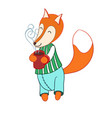 Cute cartoon fox in striped pajamas drinking vector image